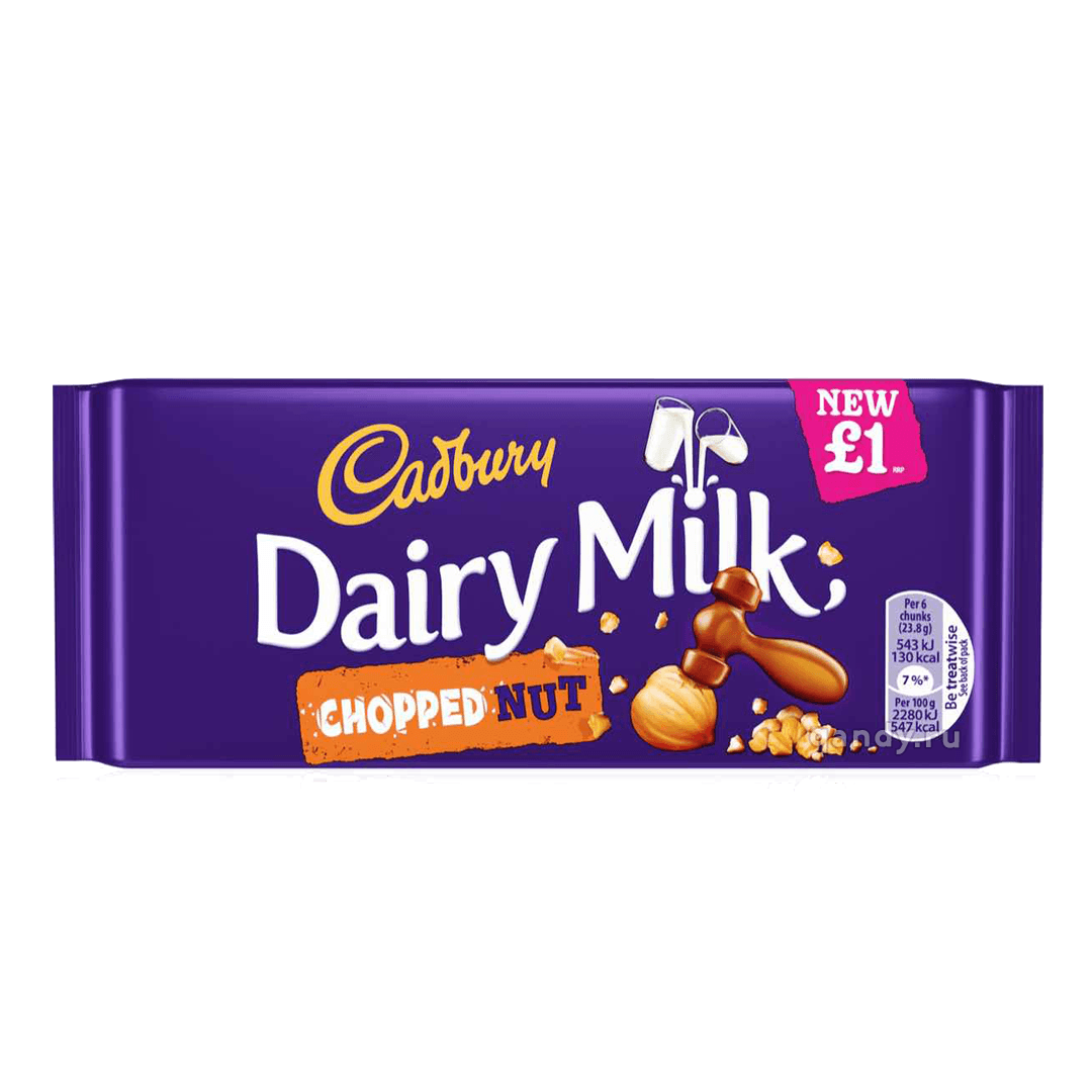 Шоколад Cadbury Dairy Milk Chopped Nut Bar, 95 г.