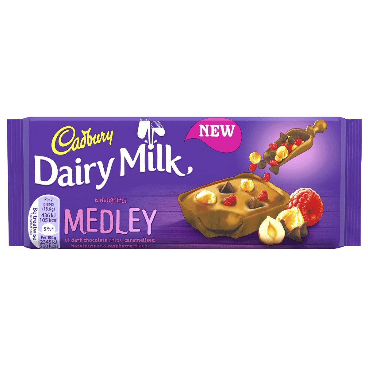 Шоколад Cadbury Dairy Milk Medley Fruit Raspberry, 93 г.