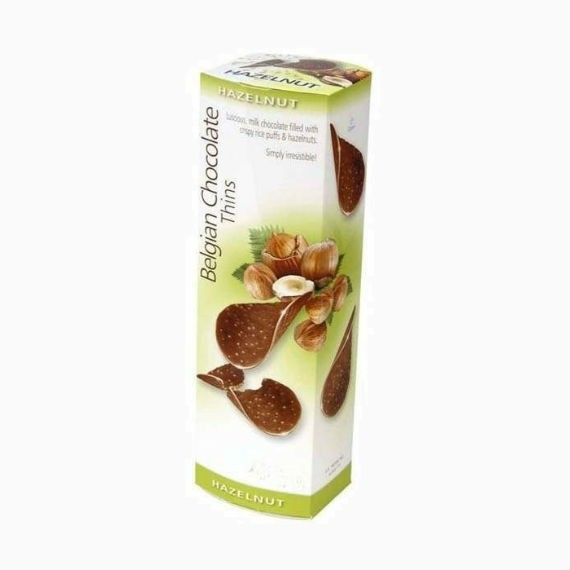 belgian milk chocolate thins hazelnut 80g