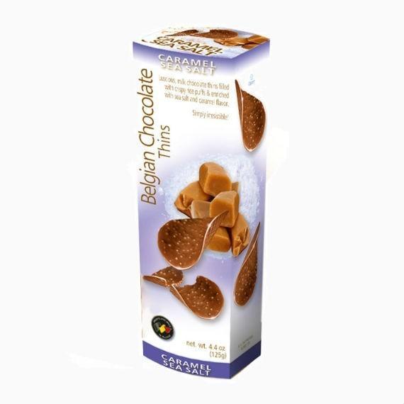 belgian milk chocolate thins caramel sea salt 80 g