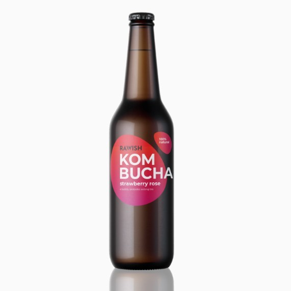 kombucha rawish strawberry rose 330 ml