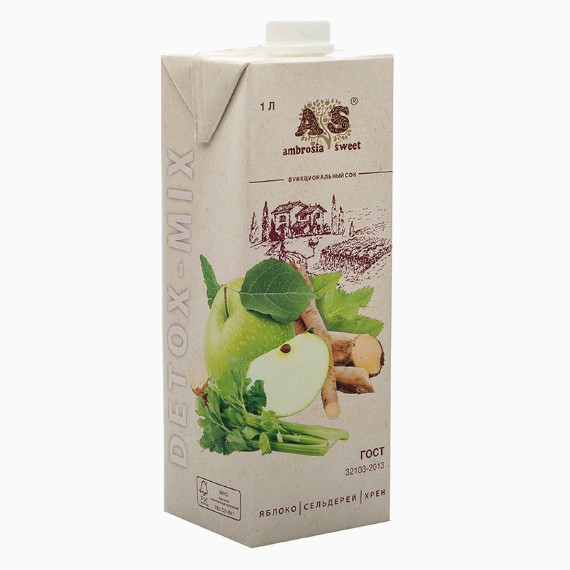 Детокс сок Ambrosia Sweet, яблоко-сельдерей-хрен, 1.0 л