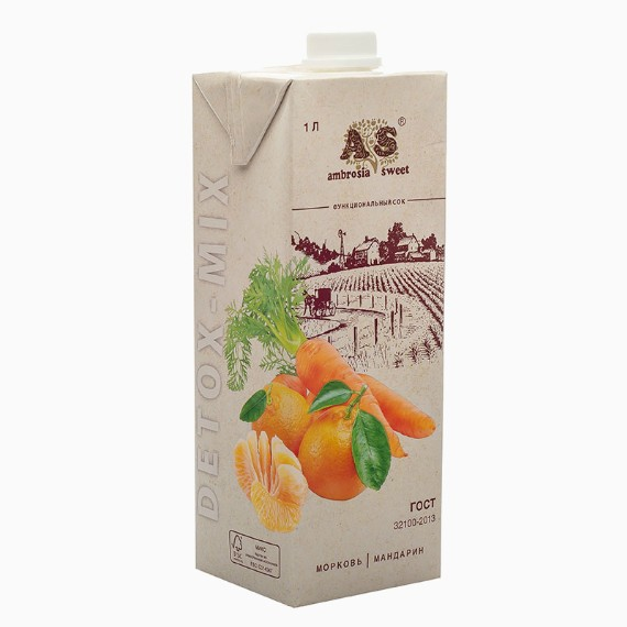 Детокс сок Ambrosia Sweet, морковь-мандарин, 1.0 л