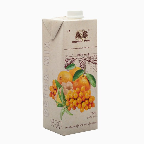Детокс сок Ambrosia Sweet, облепиха-мандарин-имбирь, 1.0 л