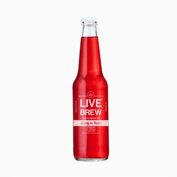 kombucha live brew lady in red 350 ml