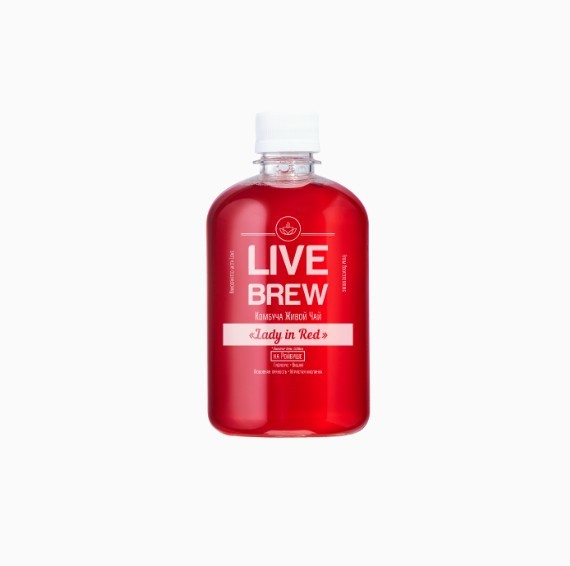 kombucha live brew lady in red 520 ml