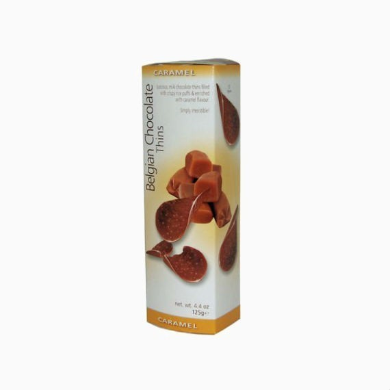 shokoladnye chipsy belgian milk chocolate thins caramel 80 g