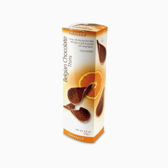 shokoladnye chipsy belgian milk chocolate thins orange 80 g